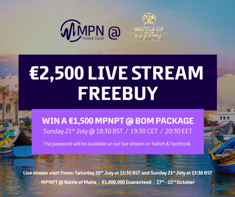 Jälgi MPN Poker Tour London telelauda ja võida Battle of Malta 1500€ pakett