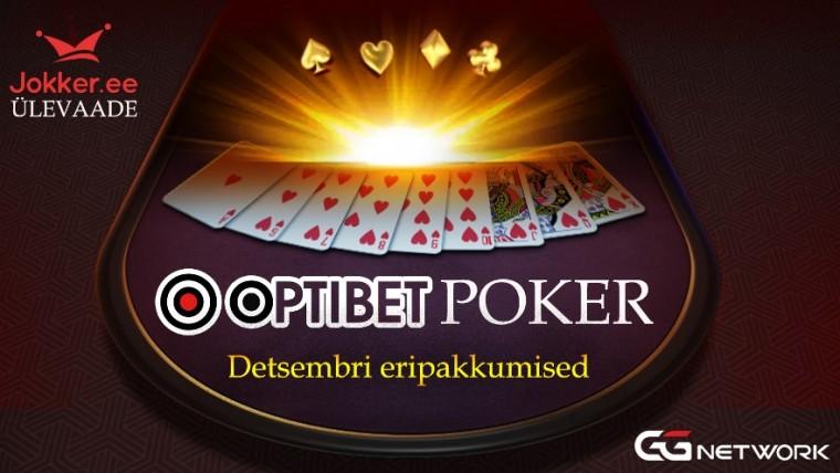 Optibeti pokkeritoa ja GG võrgustiku eripakkumised 2019. aasta detsembris