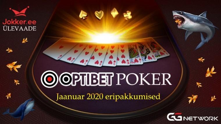 Optibeti pokkeritoa ja GG võrgustiku eripakkumised 2020. aasta jaanuaris