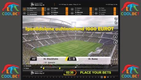 Virtuaalne jalgpall päästab päeva: Iganädalane 1000 € võistlus Coolbetis