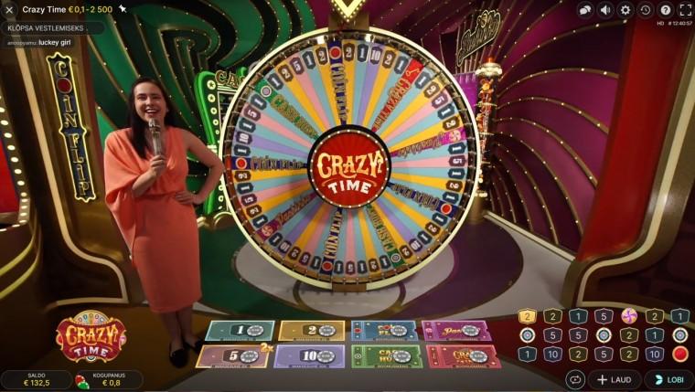 Live-kasiino uus hittmäng Crazy Time pakub põnevaid boonuseid ja suuri võite