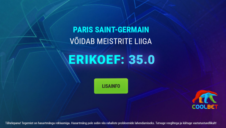 Kas PSG paneb Bayernile ära? Coolbet pakub superkoefi 35.0!