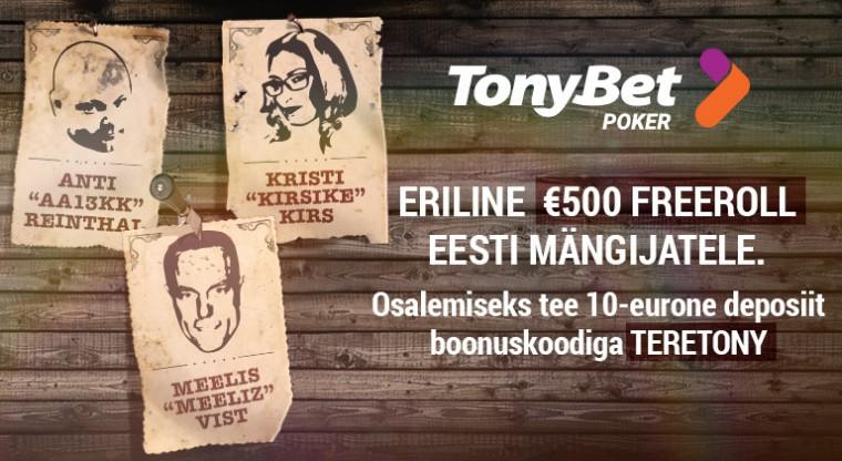 Homsel TonyBeti €500 Eesti freerollil kolm bountyt eesotsas Kristi Kirsiga!