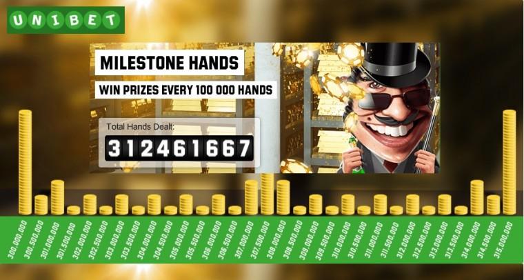 Unibet Milestone kampaania jagab auhindu rahalauas mängimise eest