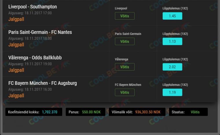 Coolbeti mängija võitis spordiennustuses ligi 100 000 eurot