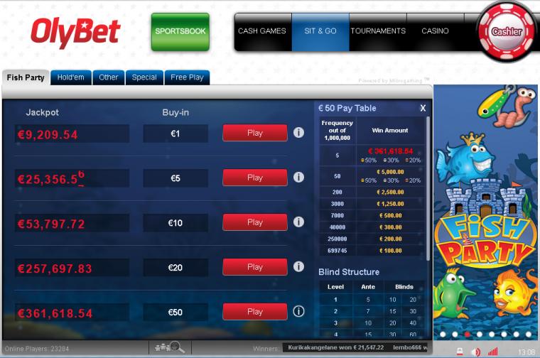 OlyBeti mängija tabas taas Fish Party Jackpoti - tartlane võitis 5€-ga 21 547€
