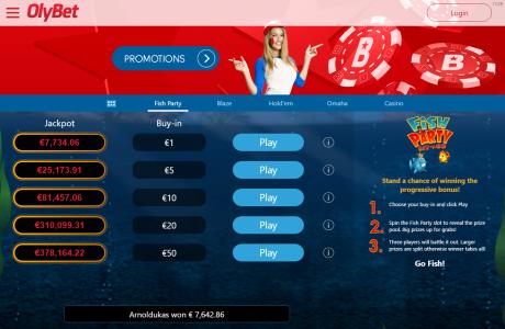 Populaarsetel pokkeri Fish Party SNG-l oli taas jackpot-õnne OlyBeti mängijatel